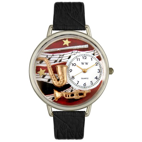 Whimsical Watches Unisex U0510014 Wind Instruments Black Skin Leather Watch