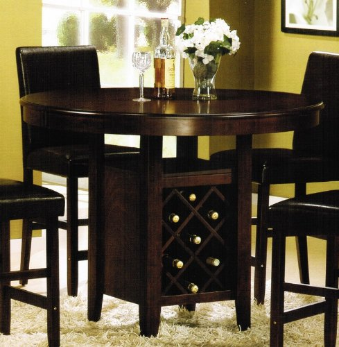 Counter Height Dining Table with Wine Rack – Cherry
