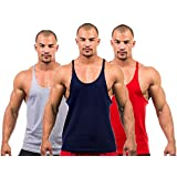 3 X Dk Active Wear BODY BUILDING STRINGER VEST, GYM / STRINGER VEST (Grey,Red,Navy) SMALL