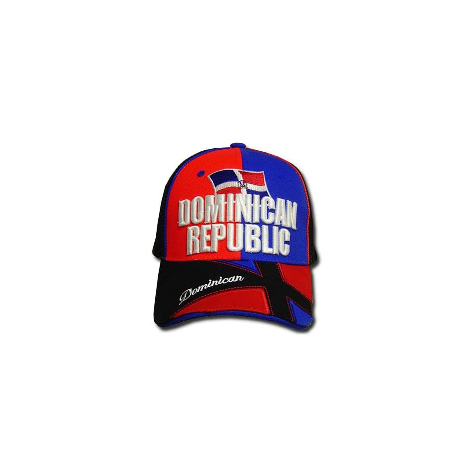 DOMINICAN REPUBLIC BLACK BLUE RED BASEBALL CAP HAT ADJ