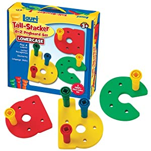 Lauri Toys Tall-Stacker a-z Pegboard Set (lowercase)