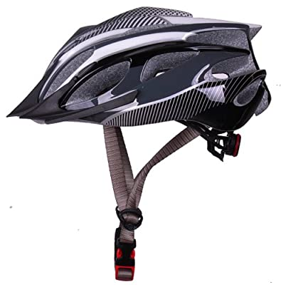 Men ladies boys and girls Road Mountain Bike Bicycle MTB BMX Cycling Helmet with visor M 54-59cm,black and white by HaoJiGuang