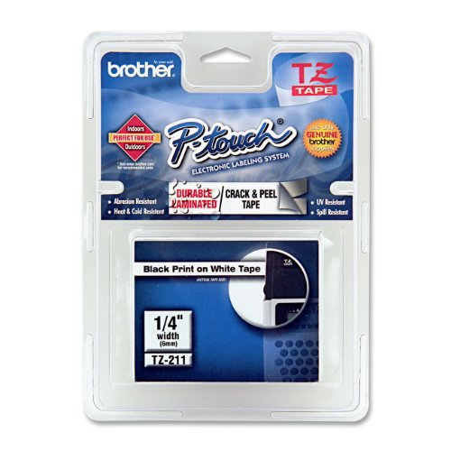 Brother Laminated Tape Black On White, 6Mm (Tze211) - Retail Packaging
