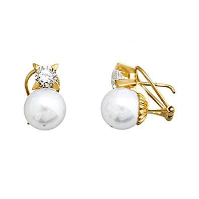 18k gold pearl earrings 10mm shell. zirconia [AA5331]