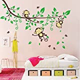 Hunnt® Monkeys and Tree Giant Baby/Nursery Wall Sticker Decals ,Super For Boys and Girls Nursery Room Home Decor Decal Childrens Room