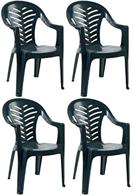 Resol Palma Garden Chair - Green - Patio Outdoor Plastic Furniture (Pack of 4)