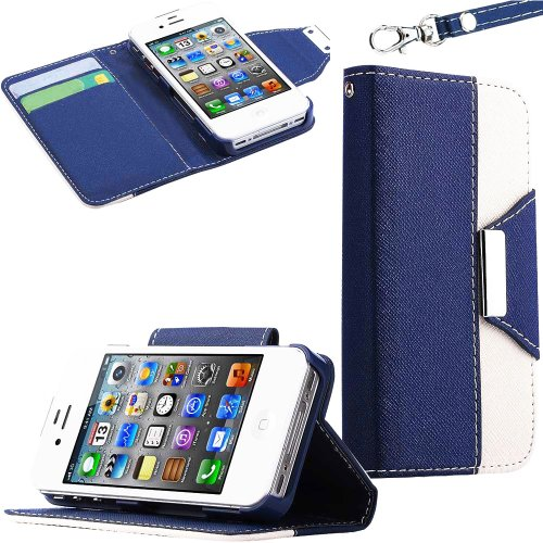 Mylife (Tm) Navy Blue And White Classy Design - Textured Koskin Faux Leather (Lanyard Strap + Card And Id Holder + Magnetic Detachable Closing) Slim Wallet For Iphone 4/4S (4G) 4Th Generation Touch Phone (External Rugged Synthetic Leather With Magnetic Cl