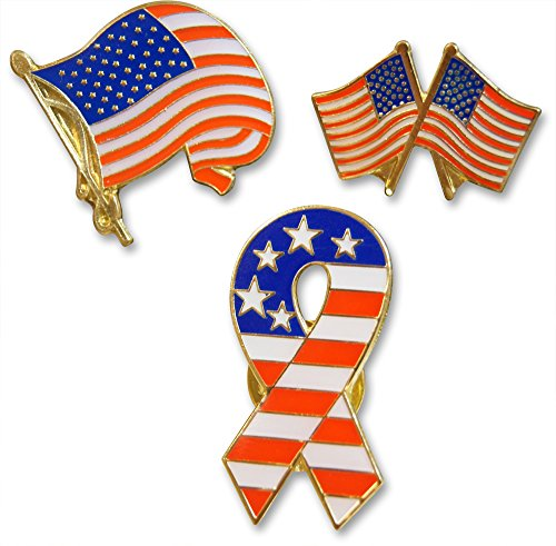 Patriotic American Flag and Ribbon 3-Piece Lapel or Hat Pin and Tie Tack Set with Clutch Back by Novel Merk (Lapel Flag Pin Us And Services compare prices)