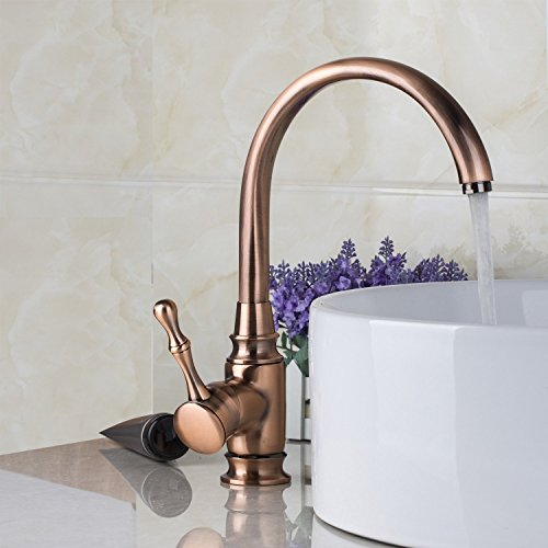 Ouboni fancy deck mount kitchen sink faucet antique copper finish plumbing fixtures bathroom - Fancy bathroom faucets ...