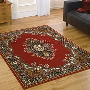 Element Lancaster Red Rug - Polypropylene - Easy Clean - W 60cm x L 110cm from Flair Rugs