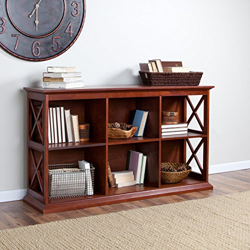 TV Stand Bookcase In Warm Cherry Finish And Six Cubbies Mission Style 5 Shelf Bookcase