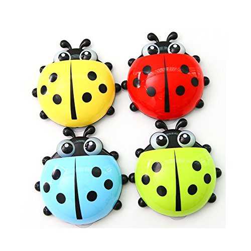 GreenSun(TM) Ladybug Toothbrush Holder Wall Suction Bathroom Sets Cartoon Sucker Hooks good morning fast arrived BA (Fire Truck Toothbrush Holder compare prices)