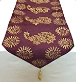 "Royal Gold Hand Block Printed Silk Table Runner - Wine (52"" x 13"") - Premium Quality By Royal DecoFurnishing"