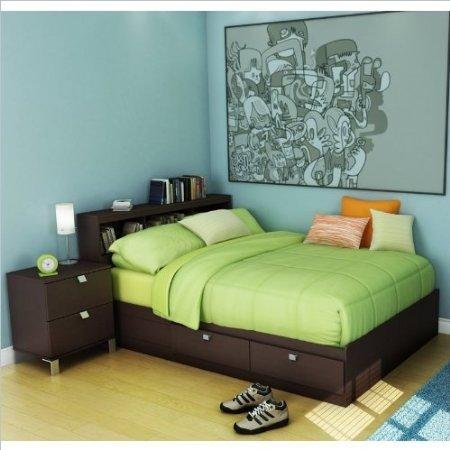 Cheap South Shore Cakao Kids Full Wood Storage Bed 3 Piece Bedroom Set in Chocolate (3259211-3PKG)
