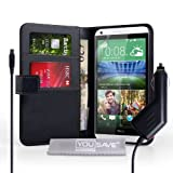 Yousave Accessories HTC Desire 816 Case Black PU Leather Wallet Cover With Car Charger