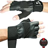 Weight Lifting Gloves With Wrist Support For Gym Workout, Crossfit, Weightlifting, Fitness & Cross Training - The Best For Men & Women - Nordic Lifting™ Premium Quality Gear & Equipment - Use Gloves, Hooks, Wraps & Straps to Avoid Injury During Powerlifting - (Black, Medium) - 1 Year Warranty