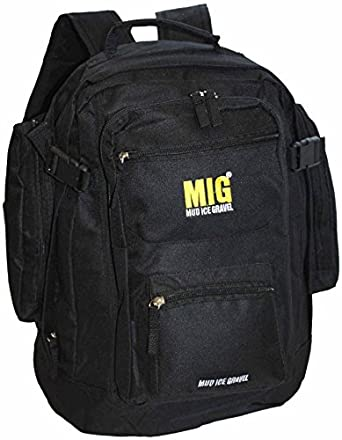 Mens Backpack Rucksack Bags By Mig in Multiple Styles & Colours - SPORTS TRAVEL WORK HIKING SCHOOL FISHING (ALL BLACK)