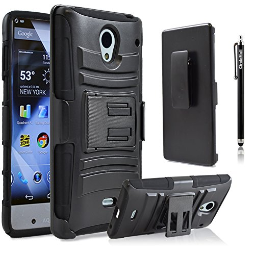 Sharp Aquos Crystal Case, Combo Rugged Shell Cover Holster with Built-in Kickstand and Holster Locking Belt Clip Black + Circle(TM) Stylus Touch Screen Pen And Screen Protector (Sharp Crystal Phone Case compare prices)