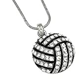 Silvertone Clear Rhinestone Volleyball Charm Pendant Necklace