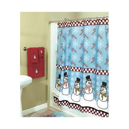 Snowman candy cane christmas decor bath bathroom fabric for Christmas bathroom decor