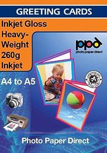 A4 Inkjet (Jet d'encre) Papier pour carte de remerciement Glacé Haute densité 260g x50 Feuilles +Enveloppes
