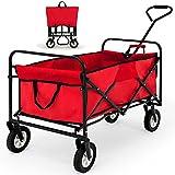 Chariot de jardin charrette à main rouge - Pliable - Avec sac de transport - Chariot transport bricolage...