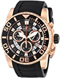 Invicta Pro Diver Swiss Made Men's Quartz Watch with Black Dial Chronograph Display and Black PU Strap in Rose-Gold Plated Stainless Steel Case 14675
