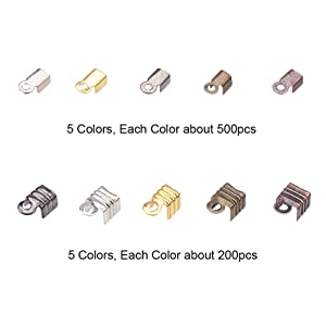 PandaHall Elite About 450 Pcs Iron Fold Over Cord Ends Terminators End Tips for Leather 3-3.5mm for Jewelry Making 3 Colors