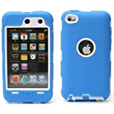 Heavy Duty Defender Case Cover for Apple iPod Touch 4G 4th Gen (Blue/White) + Gadget Cleaning Cloth