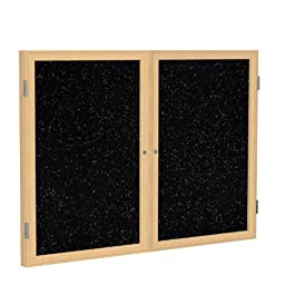 2 Door Enclosed Bulletin Board Surface Color: Tan Speckled, Size: 4\' H x 5\' W, Frame Finish: Oak