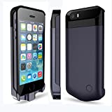 IFans® [Apple Certified ]2400mAh MFi Certified Extended Protective iPhone 5/5s Battery Power Pack external Case Rechargeable Extended Backup Charger flip cover case,dark blue