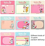 HuanX35 Cute Little Talk Girls Sticky Note Collection Memo Pads Point It Notes Lovely cartoon memo note(12 pack,30 sheets per pack, Random Delivery )