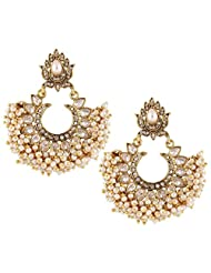 The Jewelbox American Diamond Pearl Gold Plated Large Chaand Bali Earring For Women