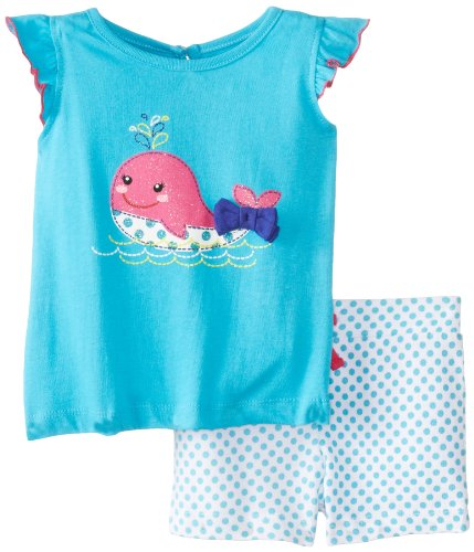 Kids Headquarters Baby-Girls Infant Top With Printed Shorts Whale, Blue, 18 Months front-856200