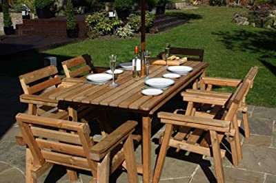 Patio Set / Garden Furniture, 6ft Table, 6 Chairs Solid Wood