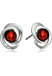 Sterling Silver Cherry Amber Round Stud Earrings