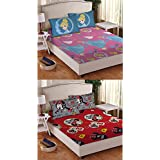 Disney- Athom Trendz- Princess And Minnie -2 Double Cotton Bed Sheets(224cm X 250cm) Along With 4 Pillow Covers...
