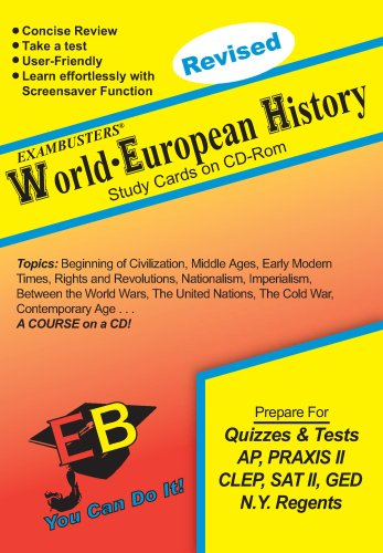 World-European History Exambusters CD-ROM Study Cards: Exam Test Prep Software on CD-ROM!