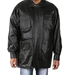 Shagoon Emporium Men's Leather Coat(sh0037_Black_Medium)