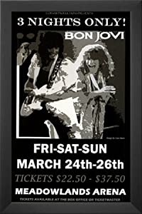 Professionally Framed Bon Jovi (Meadowlands Arena, Concert) Music Poster Print - 11x17 with Solid Black Wood Frame
