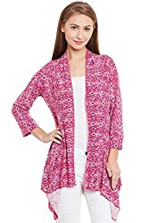 PURYS Printed Pink Abstract Shrug - Large