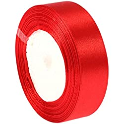 "C-Pioneer 25Yards 1""(25mm) Ribbon Wedding Party Craft Satin DIY hair Bow (Red)"
