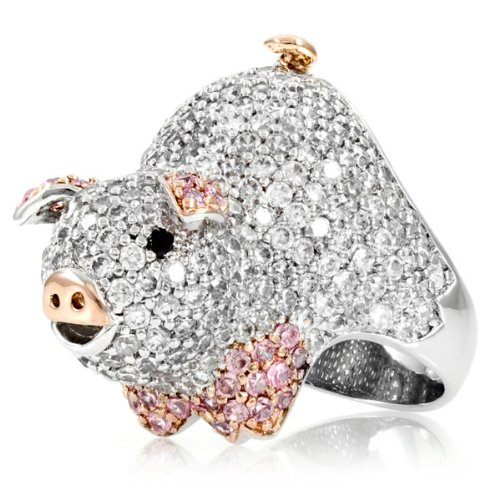 Charlotte's Pig Cocktail Ring - sterling silver