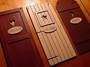 Country Outhouse Welcome Privy 3 Rustic Bathroom Door Signs Set H