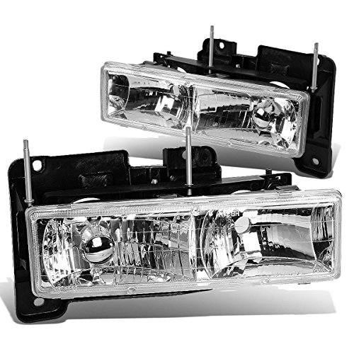 DNA Motoring HL-GLASS-C10-CH Headlight Assembly, Driver & Passenger Side (97 Chevy Tahoe Glass Headlights compare prices)