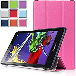 Lenovo Tab 2 A8 Case - HOTCOOL Ultra Slim Lightweight SmartCover Stand Case For 2015 Released 8-Inch Lenovo TAB 2 A8-50 ZA030046US Tablet, Magenta