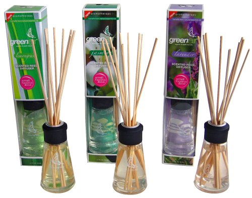 Greenair Earth Friendly Aromatherapy Reed Diffusers, 2.7-Ounce Containers, Set Of 3 Assorted Scents (lavender, Jasmine And Lemongrass)