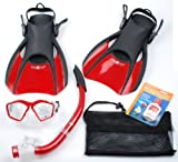 US Divers Fins, Splash Top Snorkel, Red Mask, and Bag Set Snorkeling Swim Swimming Authorized Dealer Full Warranty – L-XL