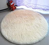 SKL 120cm*2.5cm Super Soft Chenille Fiber Round Shaggy Area Rugs and Carpet Sitting Room Bedroom Home Carpet Computer Chair Cushion (Beige) by SKL
