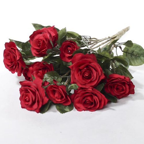 Beautiful and Life Like Artificial Assorted Red Rose Bouquet Perfect for Centerpieces (Clayton Rose compare prices)